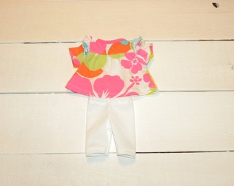Brightly Coloured Cotton Knit Dress and Short Leggings - 12 inch doll clothes