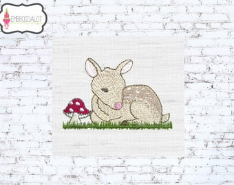 Fawn machine embroidery design. adorable baby deer embroidery with toadstool. Such a pretty woodland embroidery design!