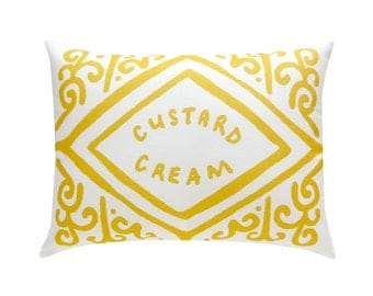 Custard Cream Printed Cushion / Biscuit Cushion - Cookie Pillow