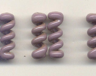 Tom's lampwork opaque violet twist cylinder beads, drops, spacers 20mm, 2 beads, 1 pair, 96826-1