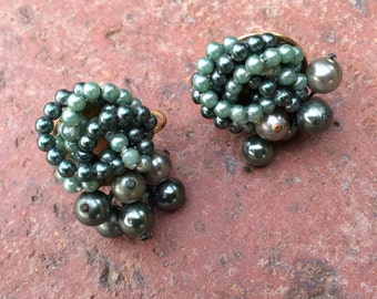 Vintage Green Screw-Back Beaded Earrings