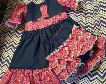 Boutique OOAK Pink Bandana Western Denim Dress and Triple Ruffle Panties or Diaper Cover