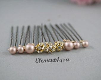 Pearl hair pins, Gold rhinestone ball, Bridal hair piece, Wedding Accessories, Bridesmaid gift, White Ivory Purple Pink pins, Flower girl