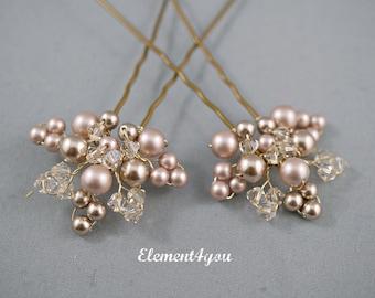 Bridal hair piece. Wedding set of 2 pins. Leaves Hair vines. Champagne gold. Pearl hair pins. Wedding accessories. Vintage look bridal pins
