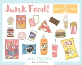 JUNK FOOD Clip Art Set for personal and commercial use- chips, cookies, chocolate, pizza, hamburger, fries, soda pop, donut, cupcake
