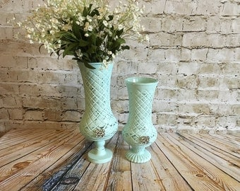 Shabby Chic mint green vases, pedestal vases, upcycled aqua vases, repurposed vases, light aqua vases, wedding vases, miny green centerpiece
