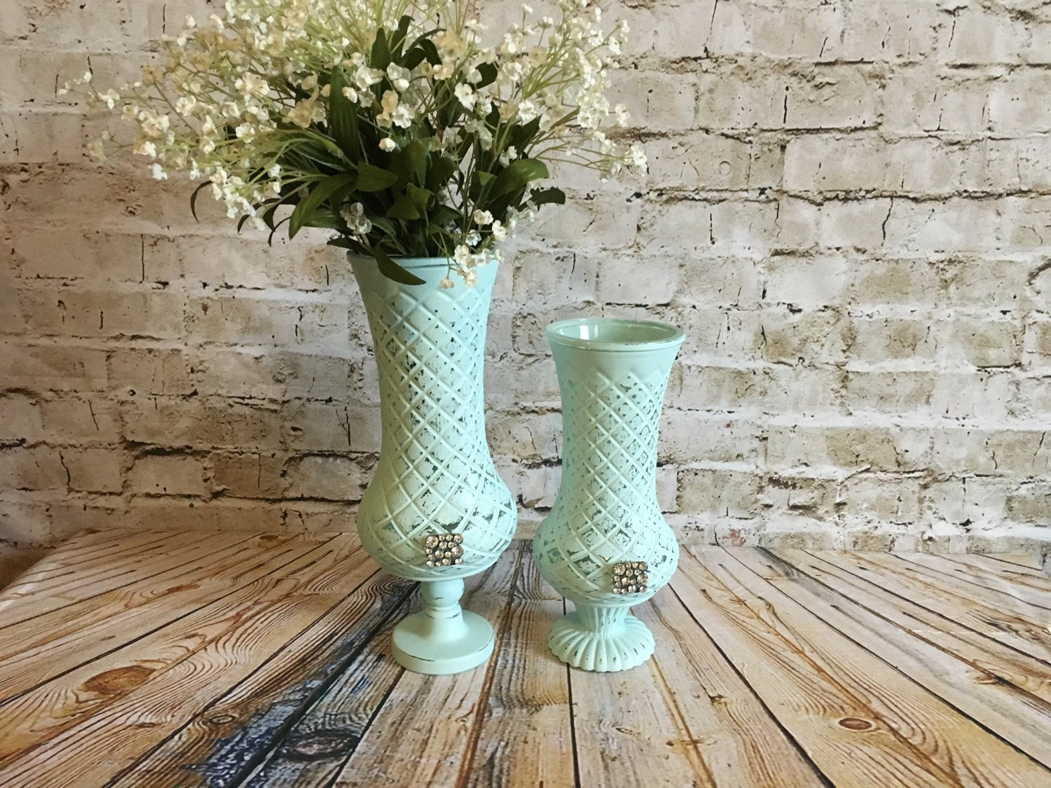 shabby chic mint green vases pedestal vases upcycled aqua. Black Bedroom Furniture Sets. Home Design Ideas