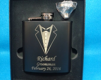 GROOMSMEN GIFTS - 5 Black Flask and Funnel Gift Sets with Personalized Tuxedo design -  Best Man, Groomsmen, Father of the Bride and Groom