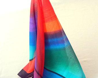 Rainbow Sunset Chiffon Scarf, Bold Orange Blue Purple Green, Square Shape