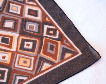 Chiffon Square Scarf, Brown Diamond Shapes Tan Gray Cream Chocolate Black Border, Hand Drawn Geometric Style, 90s