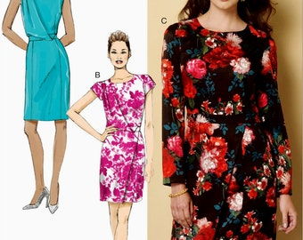 Straight Dress Pattern, Long Sleeve Dress Pattern, Evening Dress Pattern, Butterick Sewing Pattern 6240