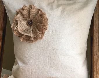 Canvas Pillow Cover With Burlap Flower