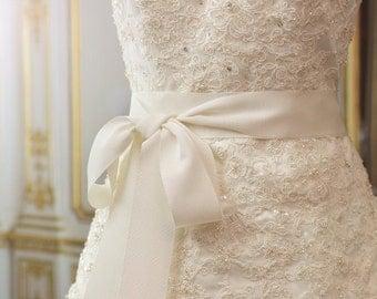 Petersham Grosgrain Ribbon sash belt bridal wedding ivory light