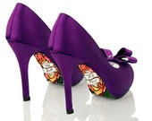 Custom hand painted Till Death Do Us Part and Roses heel