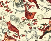 Post Card Cardinals Fabric 1Yd