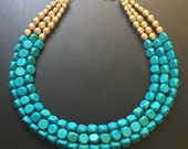 TURQUOISE and Gold multistrand beaded necklace