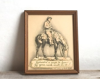Framed Will Rogers Lithograph And Quote Buzza Co. 1939 Wild West Rodeo
