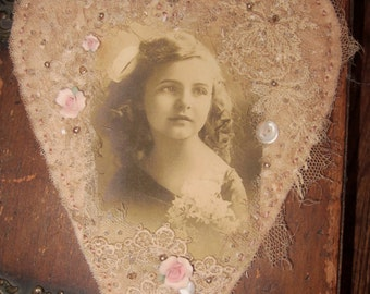 Sweet Edwardian Serene Girl Vintage Lace Heart Collage Hanging