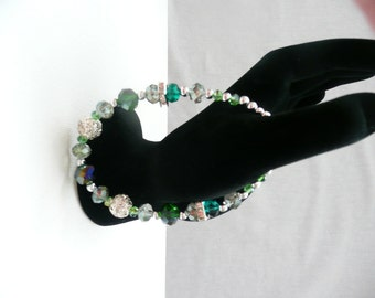 Emerald, Teal, and Silver Clasp Bracelet