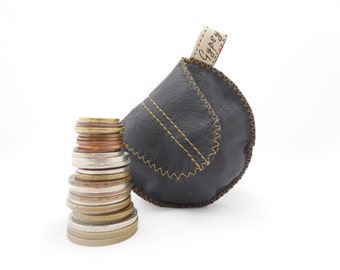 Men's Leather Change Purse / Black Argentine Leather and Recycled Tie Silk / The Mini Gypsy Guys Coin Pouch