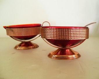 Vintage Ruby Red Tableware,  in Copper Plate,  Davidson British Art Glass ,Elegent Creamer Sugar