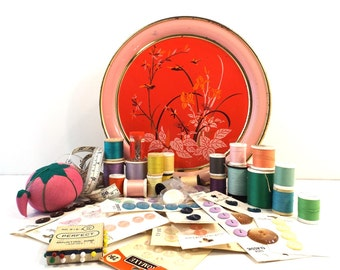 vintage sewing tin notions supplies instant collection thread spool button lot storage container home decor decorative instant old pink bird