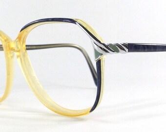 vintage 80's used round blue eyeglasses frames plastic oversize retro eye glasses eyewear optical translucent opal silver jade yellow 102