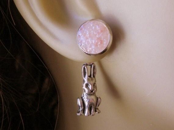 Pink Rabbit Earrings Bunny Earrings Hare Earrings Reverse Earrings Ear Jackets Front Back Earrings Blue Green Bunny Jewelry Silver Rabbit