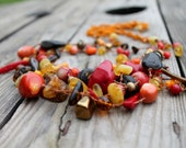 Extra Long Red necklace Multi Strand Bohemian Style Mexican Jewelry Folk Orange  Coral Gold brown Red Chunky Stone Natural Jewerly
