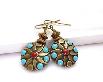 Southwestern Turquoise Boho Earrings - Bronze Dangle Earrings - Turquoise and Coral - Bohemian Jewelry