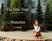 Manachan - Miniature Brownie - Household Elf Figurine - Helpful Spirit - Little People by Bewilder and PIne - Polymer Clay Sculpture