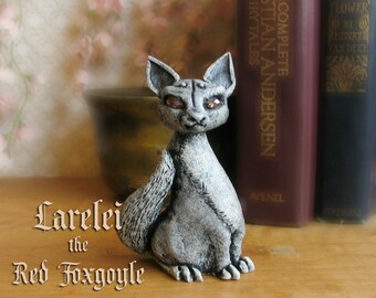 Larelei the Red Foxgoyle - Miniature Fantasy Gargoyle Fox Figurine - Faceted Crystal Eyes - Handmade and Hand-Painted Polymer Clay Sculpture