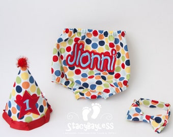 Circus Party Hat, Diaper Cover, Bow Tie for Baby Boy Cake Smash or First Birthday