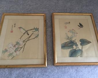 Pair of Vintage Framed Japanese Woodblock Prints