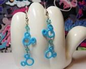 ON SALE - Mickey Mouse Double Head Blue Dangle Earrings