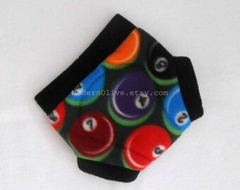 Medium Fleece Cloth Soaker Diaper/Underpants Cover in Billiards Ready to Ship, Green Black Red Orange Blue Yellow Vegan