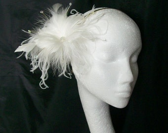 Pretty Ivory Feather Flower and Crystal Pearl Bridal Fascinator Hair Comb or Band - Made to Order