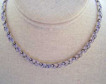Vintage Lisner Rhinestone Leaves Bridesmaid Wedding Prom Art Deco Silver Necklace Doodaba