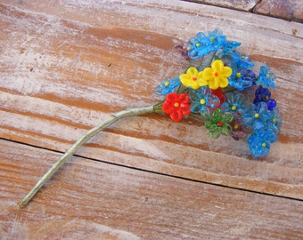Mini Glass Flowers, Vintage Glass Flower Bouquet, Red, Yellow, Blue Glass Flowers