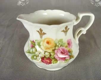 Vintage White Bone China Creamer with Pink & Yellow Cabbage Roses and Gold Detailing