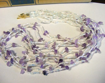 Vintage Irridescent Purple and White Amethyst Bead 6-strand Necklace