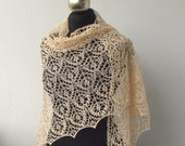 Linen hand knitted lace shawl, Apricot summer lace shawl.