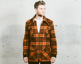 80s Plaid WOOL Coat . Vintage Men's 60s Winter Coat 70s Oversized Fuzzy Jacket 1970s Hipster Brown Outerwear 1960s . Medium