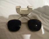 Vintage Clip On hard hat cobalt    Blue glass Welding Glasses Steampunk