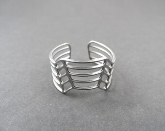 stainless steel ring, 3d ring, striped ring, silver ring
