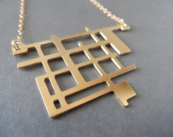 art necklace, geometric necklace, architecture necklace, art jewelry, architecture jewelry, geometric jewelry, unique jewelry, gift for her