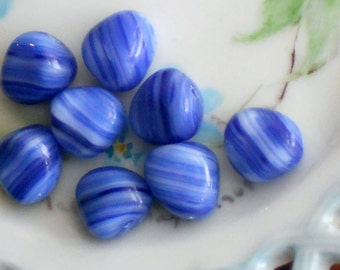 N1596 Vintage Beads Pressed Glass Czech Striped Cobalt Preciosa 8x11 Nugget