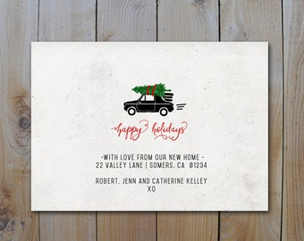 Holiday Moving Announcement /  Car with Christmas Tree / Christmas Card Moving Announcement / PRINTABLE / 10558