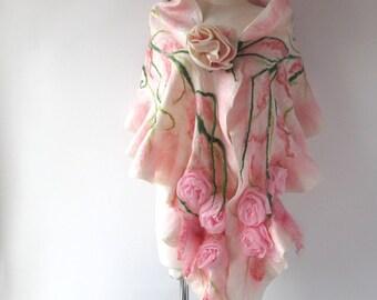 Nuno Felted scarf, Pink  ruffle shawl, Nuno felted  collar, Pink Wool scarf, Floral Rose shawl wedding scarf