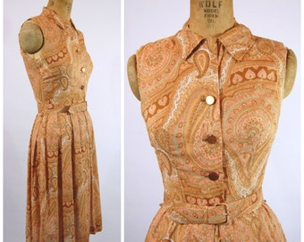 50s 60s Paisley Cotton Dress - Early 60s House Dress - Peter Pan Collar Dress